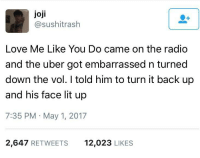 """<p>Wholesome Joji (Filthy Frank) via /r/wholesomememes <a href=""""http://ift.tt/2qIud8E"""">http://ift.tt/2qIud8E</a></p>: joji  @sushitrash  Love Me Like You Do came on the radio  and the uber got embarrassed n turned  down the vol. I told him to turn it back up  and his face lit up  7:35 PM May 1, 2017  2,647 RETWEETS  12,023 LIKES <p>Wholesome Joji (Filthy Frank) via /r/wholesomememes <a href=""""http://ift.tt/2qIud8E"""">http://ift.tt/2qIud8E</a></p>"""