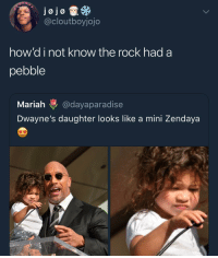 Blackpeopletwitter, The Rock, and Jojo: jojo  @cloutboyjojo  how'd i not know the rock had a  pebble  Mariah @dayaparadise  Dwayne's daughter looks like a mini Zendaya <p>im shook (via /r/BlackPeopleTwitter)</p>