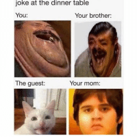 Follow me on Instagram: @nathanielknows: joke at the dinner table  You:  Your brother:  The guest:  Your mom: Follow me on Instagram: @nathanielknows