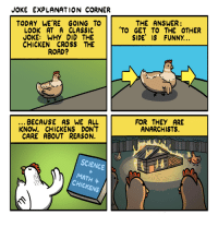 joke: JOKE EXPLANATION CORNER  TODAY WE RE GOING TO  LOOK AT A CLASSIC  JOKE: WHY DID THE  CHICKEN CROSS THE  ROAD?  THE ANSWER:  TO GET TO THE OTHER  SIDE' IS FUNNY.  FOR THEY ARE  ANARCHISTS.  BECAUSE AS WE ALL  KNOW, CHICKENS DON'T  CARE ABOUT REASON.  SCIENCE  MATH  CHICKENS