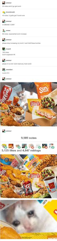 Reblog so I can eat, just not that much: jokebud  20 notes and ill go get lunch  lemon breadd  40 notes. Ugotta get 2 lunch now  jokebud  im BROKE I CANT  Smaax  80 notes, exponential lunch increase  jokebud  please stop increasing my lunch icant hold these lunches  mojav8  100 notes  lunch expansion  #5  jokebud  please im so full i dont need any more lunch  zetto52sd  Lunch 14  jokebud  CHIPS  HA  jokebud  9,989 notes  5,135 likes and 4,847 reblogs Reblog so I can eat, just not that much