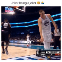 All Star, Joker, and Memes: Joker being a joker  ALL-STAR 2019 CHARLOTTE PRESENTED BY KIA  LEBRON 76  2ND1:25  24 He made the ball touch LeBron first 👀😂🔥 - Follow @_nbamemes._ - via @nbahotshots.us