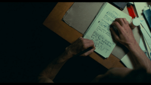 In Joker (2019), Arthur writes the quote with left hand, even though he just wrote the above paragraph with right hand.: JOKES  why did the, gld  thsomneea  half to gleep wiit  Con fusd  any conts  how ricny tmte  what did the  to the stratstru  loosen up a little.  the worst part  havins  is  a miental il  people expect  you 4o behave  as if yoU In Joker (2019), Arthur writes the quote with left hand, even though he just wrote the above paragraph with right hand.