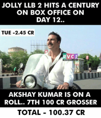 Memes, Akshay Kumar, and 🤖: JOLLY LLB 2 HITS A CENTURY  ON BOX OFFICE ON  DAY 12.  TUE -2.45 CR  RVC J  WWW.RVCU.COM  AKSHAY KUMAR IS ON A  ROLL.. 7TH 100 CR GROSSER  TOTAL 100.37 CR JOLLY HITS CENTURY rvcjinsta