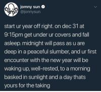 Fall, New Year's, and Tumblr: jomny sun  @jonnysun  start ur year off right. on dec 31 at  9:15pm get under ur covers and fall  asleep.midnight will pass as u are  deep in a peaceful slumber, and ur first  encounter with the new year will be  waking up, well-rested, to a morning  basked in sunlight and a day thats  yours for the taking n-award: gyplet: no i am going to do coke there she is