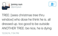 Christmas, Christmas Tree, and Good: jomny sun  @jonnysun  TREE: [sees christmas tree thru  window] who dose he think he is. all  dressed up. too good to be outside  ANOTHER TREE: be nice, he is dying  12/24/14, 7:54 PM <p>this is a bit too real</p>