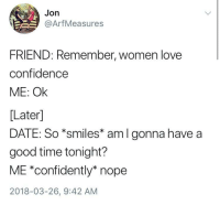"Confidence, Love, and Memes: Jon  @ArfMeasures  FRIEND: Remember, women love  confidence  ME: Ok  [Later]  DATE: So *smiles* aml gonna have a  good time tonight?  ME *confidently* nope  2018-03-26, 9:42 AM <p>Confidence via /r/memes <a href=""https://ift.tt/2I8JOXV"">https://ift.tt/2I8JOXV</a></p>"