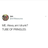 Pringles, Tube, and Dank Memes: Jon  @ArfMeasures  ME: Alexa, amldrunk?  TUBE OF PRINGLES @_taxo_ genuinely makes me laugh.