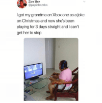 Christmas, Grandma, and Xbox One: Jon Aro  @papichombo  I got my grandma an Xbox one as a joke  on Christmas and now she's been  playing for 3 days straight and I can't  get her to stop We've all been here 🙄 @teengirlclub @teengirlclub @teengirlclub