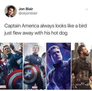 Wish I could fly right about now: Jon Blair  @okjonblair  Captain America always looks like a bird  just flew away with his hot dog  INFINITY WOR  ARVEL  MARVEL Wish I could fly right about now