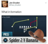 Nfl, Spider, and Formation: Jon Gruden  @Faux Gruden  What in formation  Faux Gruden  PASS  Spider 2YBanana Gold