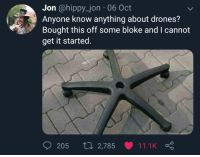 Maybe voice activated.: Jon @hippy_jon 06 Oct  Anyone know anything about drones?  Bought this off some bloke and I cannot  get it started.  205 t0 2,785 11.1K Maybe voice activated.