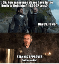 Stannis: JON: How many men do we have in the  North to fight him? 10,000? Less?  DAVOS: Fewer  STANNIS APPROVES  with a smile ]