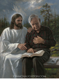 """Journey, Life, and Love: JON MCNAUGHTON COM This elderly gentleman lives not too far from me. He is always friendly and kind and willing to share his love for the Savior with any who will listen. As I was modeling him for this painting I said, """"Imagine you are reading your scriptures and you feel something special burning inside you witnessing to you that what you are reading is true. At this moment the Lord Himself is sitting beside you and touches you on your shoulder."""" As I posed my model I felt the Spirit of the Lord so strong that both my model and I began to cry. I know that my Savior lives and that by reading His Holy words we can draw closer to Him. This dear gentleman has been an avid hiker his entire life, so I felt it was appropriate to place him in a scene where he is resting on a bench somewhere in the mountains. It is toward the end of his journey and his map and compass are close beside him—just as the scriptures are our map and compass to lead us through the journey of life."""