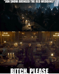"Bitch, Hbo, and Memes: ""JON SNOW AVENGED THE RED WEDDING!  BITCH, PLEASE GameofThrones HBO"
