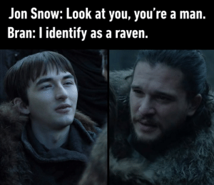 Dank, Jon Snow, and Raven: Jon Snow: Look at you, you're a man.  Bran: I identify as a raven. You don't say