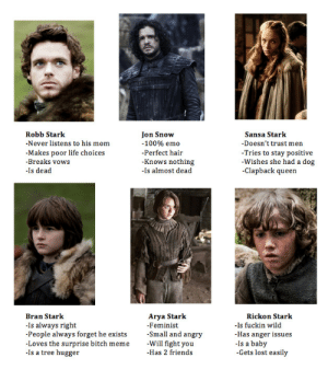 cherhorowiz:  tag yourself as a stark! i'm sansa : Jon Snow  Robb Stark  Sansa Stark  -Never listens to his mom  -100% emo  -Doesn't trust men  -Tries to stay positive  -Wishes she had a dog  -Clapback queen  -Makes poor life choices  -Breaks vows  -Perfect hair  -Knows nothing  -Is almost dead  -Is dead  Arya Stark  Bran Stark  Rickon Stark  -Is fuckin wild  -Has anger issues  -Is a baby  -Gets lost easily  -Is always right  -People always forget he exists  -Loves the surprise bitch meme  -Is a tree hugger  -Feminist  -Small and angry  -Will fight you  -Has 2 friends cherhorowiz:  tag yourself as a stark! i'm sansa