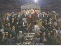 "America, Bones, and Children: JON TON, COM ***NEW MCNAUGHTON PAINTING--""JUSTICE FOR ALL""***  If the great lawgivers of America could speak to us today what would they say?  Artist Jon McNaughton's new masterpiece ""Justice for All"" depicts Moses pointing to Heaven as over forty U.S. patriots speak to us on the steps of the US Supreme Court Building. What is the source of the laws that uphold this great nation? From whence do they come? In this painting, James Madison holds a rolled copy of the Bill of Rights and a black slave ascends the steps as the chains of slavery fall to the ground. Our country has endured trials and suffering, but is there truly justice in America today? Are the rights of all people treated equally under the law? All people, regardless of race or religion, should be treated the same. Everyone has the right to life, liberty, and happiness, as long as they do not infringe on the rights of others. Is not justice expected to be blind? What about the victims of crime, the fallen officers, the fallen soldiers? What about the black, white, brown, yellow, or red-skinned man or woman who is not given equal justice? What about the children--or the unborn children? What about those who are not given justice because the ugly head of political correctness chooses to ignore their rights to satisfy the shrill voice of the political minority? There are many faces to identify and study in this painting. If the viewer will learn their stories, they can teach the great sacrifices of those who have made America great. I believe in America; I believe in God; and I believe in doing what is right. On the frame of the original painting is engraved these words: ""Man's judgments, his decisions, his very flesh and bones will fail him. However, the rule of law anchored in the wisdom of God, will not. Therefore, let us always endeavor to be a nation of laws and of God, never of man.  You can purchase ""JUSTICE FOR ALL"" here:  http://jonmcnaughton.com/justice-for-all/"