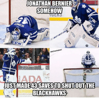 Blackhawks, Memes, and Berner: JONATHAN BERNIER  SOMEHOW  NHLTrash talkers  BERNER  UST MADEA3SAVESTOSHUTOUTTHE  BLACKHAWKS Lmaoo 😂😂