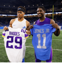 .@MarvinJonesJr and @XavierRhodes29_ with a Thanksgiving Day jersey swap! #OnePride #SKOL #MINvsDET https://t.co/9FNf6MIIEI: JONES JR  RHOOES .@MarvinJonesJr and @XavierRhodes29_ with a Thanksgiving Day jersey swap! #OnePride #SKOL #MINvsDET https://t.co/9FNf6MIIEI