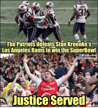 Emirates: JONES  The Patriots defeats Stan Kroenkes  Los Angeles Rams towin the SuperBowl  fTrollFootball  O TheFootballTroll  Fl  Emirátes  JusticeServed
