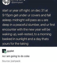 Fall, Juice, and Memes: @jonnysun  start ur year off right. on dec 31 at  9:15pm get under ur covers and fall  asleep. midnight will pass as u are  deep in a peaceful slumber, and ur first  encounter with the new year will be  waking up, well-rested, to a morning  basked in sunlight and a day thats  yours for the taking  gyplet  no i am going to do coke  Source: joshpeck i spat out my juice