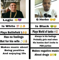 Drugs, Life, and Logic: @Jordan Fet  G Herbo  Logic  Is White  Is Black  Pla  Battlefield Plays World of tanks  Always in his feelings  Has no feelings  Probably gets mad when  But for his wife  His homies don't invite to  PSN parties  Makes music about  Makes negative music  Being positive  And enjoying life  About drugs I fuck with herb but world of tanks and being black is MAJOR L im weak 😭😭😭😭 @jordanfet