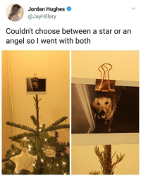 Angel, Jordan, and Star: Jordan Hughes o  @JayHillary  Couldn't choose between a star or an  angel so l went with both <p>Star and an Angel</p>