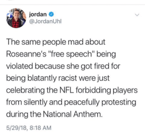 "not-safe-for-democracy:y'all told NFL players that free speech has consequences so ABC told Roseanne. : jordan  @JordanUhl  T he same people mad about  Roseanne's free speech"" being  violated because she got fired for  being blatantly racist were just  celebrating the NFL forbidding players  from silently and peacefully protesting  during the National Anthem  5/29/18, 8:18 AM not-safe-for-democracy:y'all told NFL players that free speech has consequences so ABC told Roseanne."