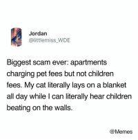 Children, Dank, and Lay's: Jordan  @littlemiss WDE  Biggest scam ever: apartments  charging pet fees but not children  fees. My cat literally lays on a blanket  all day while I can literally hear children  beating on the walls.  @Memes 😁