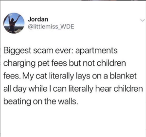 😒😂: Jordan  @littlemiss WDE  Biggest scam ever: apartments  charging  pet fees but not children  fees. My cat literally lays on a blanket  all day while l can literally hear children  beating on the walls. 😒😂