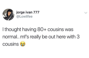 For real, my fam huge.: jorge ivan 777  @Lowlifee  I thought having 80+ cousins was  normal.. mf's really be out here with 3  cousins For real, my fam huge.