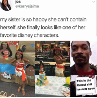 ❤️Very cute: JoS  @kerrysjaime  my sister is so happy she can't contain  herself. she finally looks like one of her  favorite disney characters.  This is the  Cutest shit  Ive ever seen ❤️Very cute