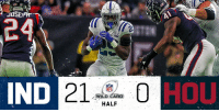 Abc, Indianapolis Colts, and Espn: JOSE  24  IND  NFL  WILD CARD  HALF  HOU  ,- HALFTIME in Houston:  #Colts 21 #Texans 0  📺: #INDvsHOU on ESPN/ABC #NFLPlayoffs https://t.co/yLyf3hMtmA