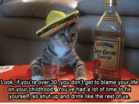 Funny, Shut Up, and Tequila: Jose Cuervo  bspecial  Look, if you're over 30, you don t get to blame your life  on your childhood. Youve had a lot of time to fix  yourself, so shut up and drink like the rest of us, now pass the tequila