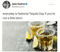 Bitch, Tequila, and Dank Memes: Jose Cuervo  @JoseCuervo  drgrayfang  everyday is National Tequila Day if you're  not a little bitch Oh lawd @drgrayfang