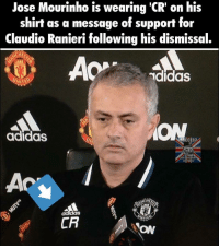 Respect 👏 🔺LINK IN OUR BIO!! 😎🔥: Jose Mourinho is wearing 'CR on his  shirt as a message of support for  Claudio Ranieri following his dismissal.  adidas  UNITED  adidas  CR  ON Respect 👏 🔺LINK IN OUR BIO!! 😎🔥