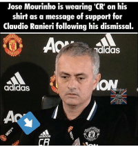 Respect JoseMourinho 👏🏻 LINK IN OUR BIO!⚡️: Jose Mourinho is wearing 'CR' on his  shirt as a message of support for  Claudio Ranieri following his dismissal.  HESS  AOP  ididas  ON  adidas  CR Respect JoseMourinho 👏🏻 LINK IN OUR BIO!⚡️