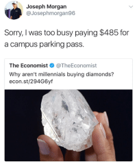 Memes, Sorry, and Millennials: Joseph Morgan  @Josephmorgan96  Sorry, I was too busy paying $485 for  a campus parking pass.  The Economist < @TheEconomist  Why aren't millennials buying diamonds?  econ.st/294G6yf