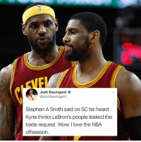 The plot thickens. 👀: Josh Baumgard  @joshbaumgard  Stephen A Smith said on SC he heard  Kyrie thinks LeBron's people leaked the  trade request. Wow. I love the NBA  offseason. The plot thickens. 👀