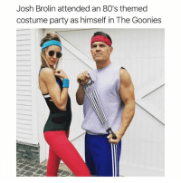 80s, Memes, and Party: Josh Brolin attended an 80's themed  costume party as himself in The Goonies Mad respect.