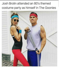 80s, Clothes, and Party: Josh Brolin attended an 80's themed  costume party as himself in The Goonies Im gonna hit you so hard when you wake up your clothes are gonna be out of style!