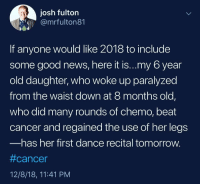 News, Cancer, and Good: josh fulton  @mrfulton81  If anyone would like 2018 to include  some good news, here it is...my 6 year  old daughter, who woke up paralyzed  from the waist down at 8 months old,  who did many rounds of chemo, beat  cancer and regained the use of her legs  has her first dance recital tomorrow.  #cancer  12/8/18, 11:41 PM Wr all need this