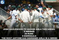 Memes, 🤖, and Hashim Amla: JOSH HAZLEWOOD TO HASHIM AMLA THIS SERIES:  5 INNINGS  29 RUNS  5 DISMISSAL  THE MOST ANYONE HAS DISMISSED AMLA IN A SERIES Josh Hazlewood has dismissed Hashim Amla 5 times in this series.  Here are the Top 7 Bowlers who have dismissed most batsmen: https://goo.gl/lGbYp0
