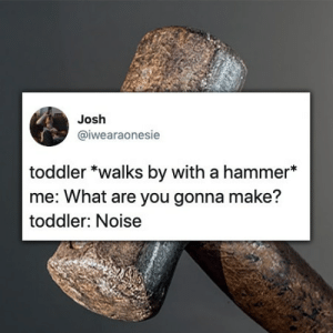 Hammer, Make, and You: Josh  @iwearaonesie  toddler *walks by with a hammer*  me: What are you gonna make?  toddler: Noise