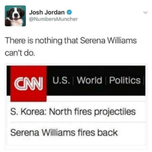 Serena Williams: Josh Jordan O  @NumbersMuncher  There is nothing that Serena Williams  can't do.  CNN U.S. World Politics  S. Korea: North fires projectiles  Serena Williams fires back