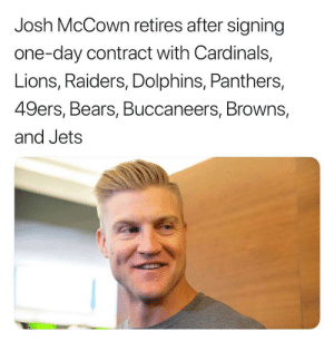 San Francisco 49ers, Football, and Nfl: Josh McCown retires after signing  one-day contract with Cardinals,  Lions, Raiders, Dolphins, Panthers,  49ers, Bears, Buccaneers, Browns,  and Jets 😂😂😂 (@TheOnion) https://t.co/cBOP60mPsE