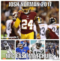 Josh Norman, Memes, and Cowboy: JOSH NORMAN 2017  @cowboy s24.7  NECEASTMATCHUPS Damn he gonna get burnt ALL SEASON 😂💀 @jno24