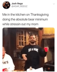 Funny, Moms, and Thanksgiving: Josh Rego  @ASAP_ REEGZ  Me in the kitchen on Thanksgiving  doing the absolute bear minimum  while stressin out my mom  NS Shout out to all the moms. Thankful 🙏🏻 🐻Minimum