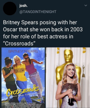 "Britney Spears, Friends, and Memes: josh.  @TANGOINTHENIGHT  Britney Spears posing with her  Oscar that she won back in 2003  for her role of best actress in  ""Crossroads""  BRITNEY SPEARS  CrossIOuds  DYeams cbange. Friends are forever  ECHTM she's so lucky"